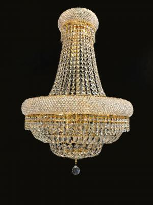 Lustre Cristal Dourado K9 15 lâmpadas