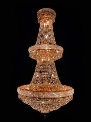Lustre Cristal Dourado K9 32 lâmpadas